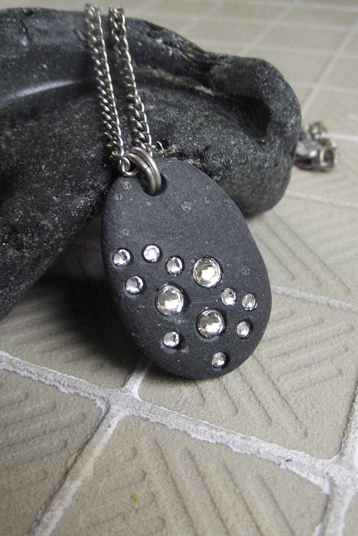 Basalt Stones Rocks : Basalt beach stone necklace starry night black
