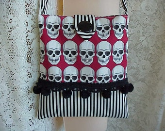Sculls BLACK n WHITE Hand Made Steampunk Goth Purse Ball Fringe Too