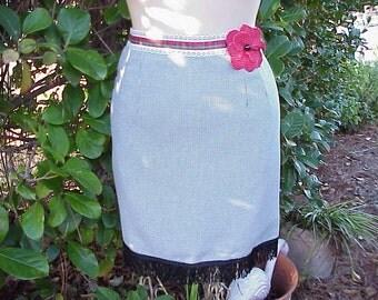 Black and White MINI Skirt Polka Dot Flower and FRINGE