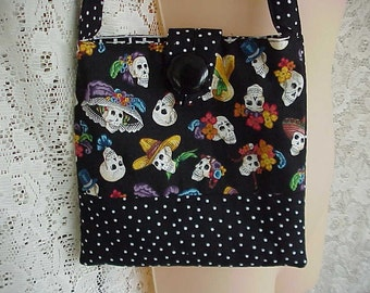 Rockabilly PURSE Sculls and POLKA Dots Hand Made