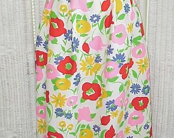 Sale..Vintage Hand Crafted OOAK Floral Full Skirt 1980