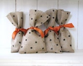 HALLOWEEN Poka Dot Burlap Gift Treat Bag Set with ORANGE ribbon