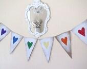 Rainbow Glittered Hearts Burlap Banner