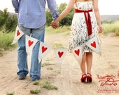 Ready to ship..White Painted Burlap with Red Glitter Hearts...Wedding Photo Prop