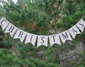 CHRISTMAS.... Mini Glittered Burlap Banner...Black and White