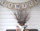 FAMILY Scrabble Burlap banner