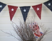 SALE...Stars Patriotic Glittered Painted Burlap Banner, July 4th, Red White Blue