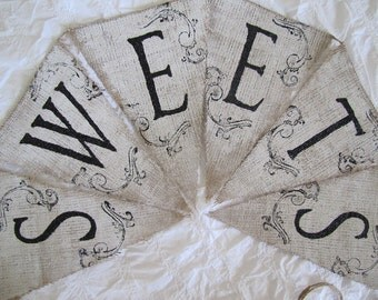 SWEETS Painted Glittered Tattoo'd Burlap Banner