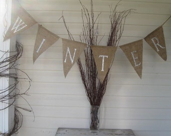 WINTER....Siver Glittered Burlap Banner Pennant Bunting