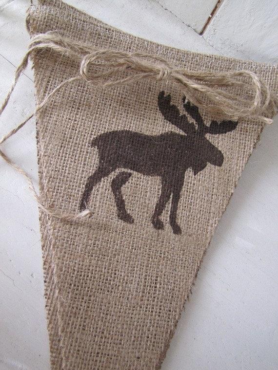 CABIN and Moose Burlap Banner