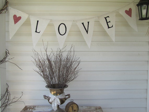 LOVE Glittered Banner on White Painted Burlap, With Pink Glitter Hearts...The ORIGINAL LOVE Banner