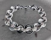 HARDWARE - hex nut and stainless steel bracelet - OOAK