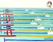 SEVEN SWANS A-Swimming (hey-- like the Christmas carol), original art.