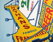 Nathan's, a signed print by Brooklyn artist John Tebeau (free shipping in USA)