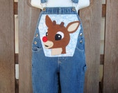 Rudolph Christmas Applique Overalls 18 months