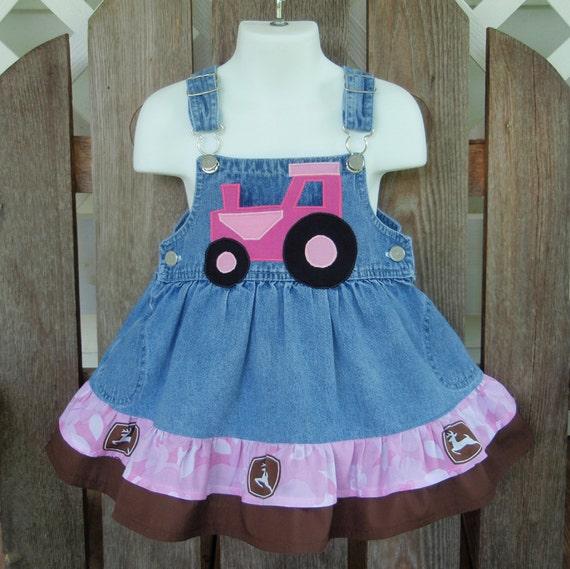 Pink John Deere Applique Farm Tractor Dress size 24mo to 2T SewSoNancy Boutique