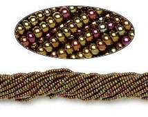 Size 11Seed bead Czech metallic iris yellow- 1 hank 6903 Preciosa- high quality small seed beads in metallic gold magenta teal mix of colors