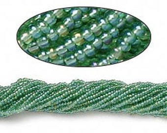 Seed bead size 11/0 Preciosa Czech glass transparent rainbow mint green - 1 hank 6882- rainbow rocaille beads green with rainbow finish 11/0