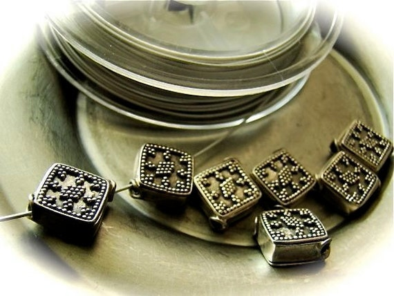 Genuine Bali silver bead 11x 11x5mm  square ornate - TWO- sterling silver bali beads diamond pattern unique silver beads high quality silver
