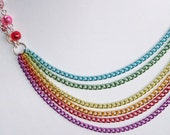Asymmetrical Rainbow Chain Necklace - RESERVED for Trueblue17