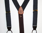Classic Gray Wool Strap Button Tab Suspenders / Braces