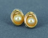 Freshwater Pearl Gold Earrings Studs Posts - Ear Candy Luxe
