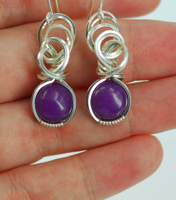 Purple Sugilite Sterling Silver Wire Wrapped Earrings