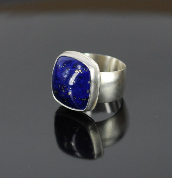 Lapis lazuli sterling silver ring modern puffy square matte brushed finish