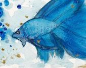 Original Beta Fish Watercolor ACEO