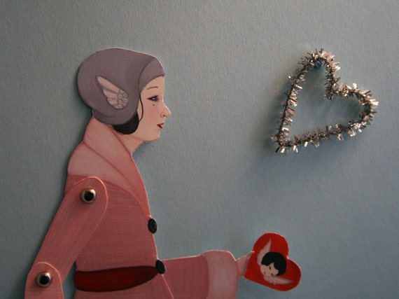 Hello Valentine - articulated paper doll set with 6 silver brads