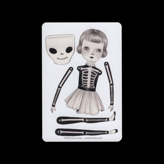Skeleton suit - articulated paper doll set with 4 silver brads