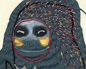 SALE Steel Blue Sea Monkey Sewn Fabric Collage / Unique Piece