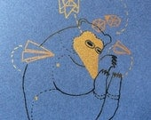 Origami Bear on Deep Blue Mi Tentes Limited Edition Print / Gocco Printed