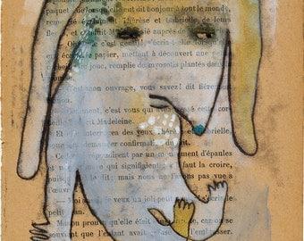 SALE Sad Rabbit Dog Monoprint Monster