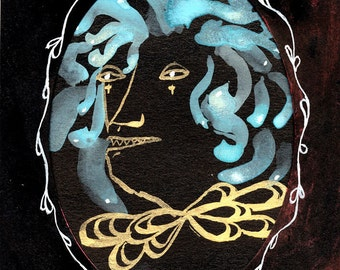 Medusa Original Painting in Oval Window Card