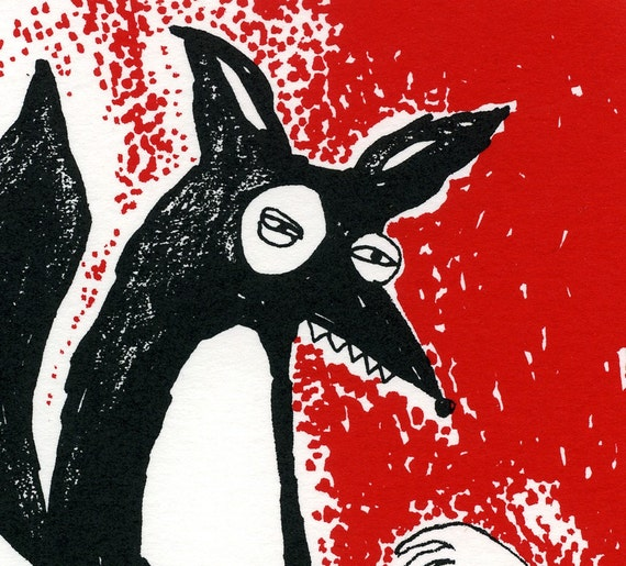 Limited Edition Screen Print Black Curious Fox