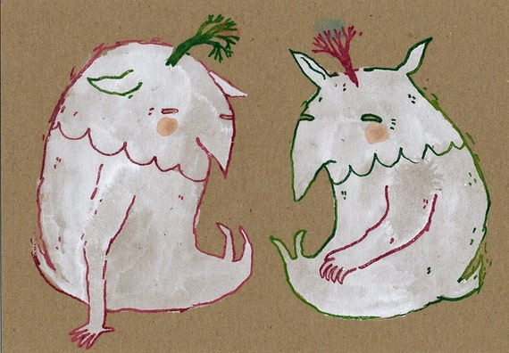 SALE Two Monsters Limited Edition Gocco Print on Kraft hand painted