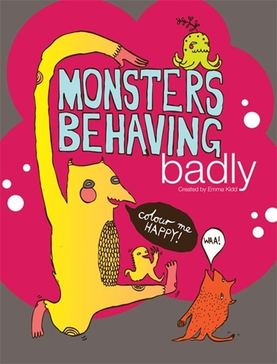 SALE Monsters Behaving Badly Illustrated Interactive Colouring Book