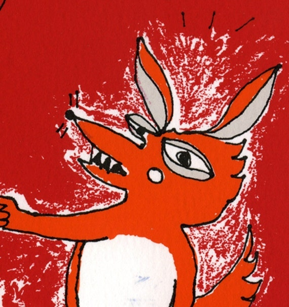 Orange Surprised Fox with a Balloon Screen Print by Emma Kidd / limited edition