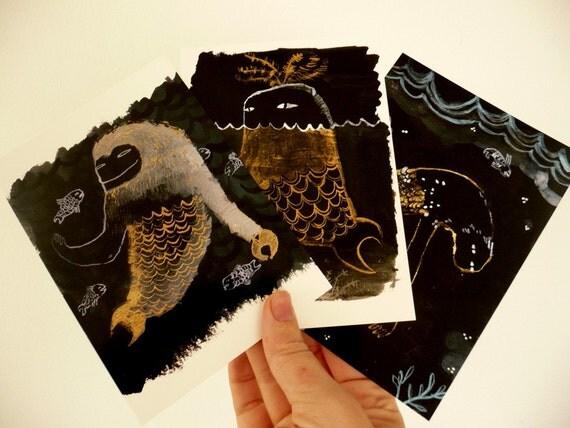 Three Sea Monster Fish Postcard Set original illustration reproduction print