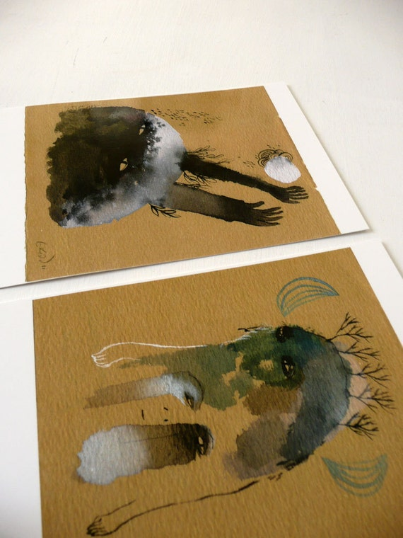 Two Beasts Postcard Set  / original illustration reproduction print