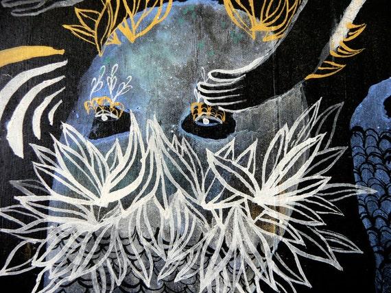 Entrapment Blue Sea monster Original Painting on Wood Panel
