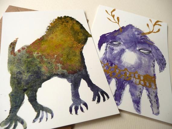 Four Mini Monsters Postcard Set by Emma Kidd / original illustration reproduction print