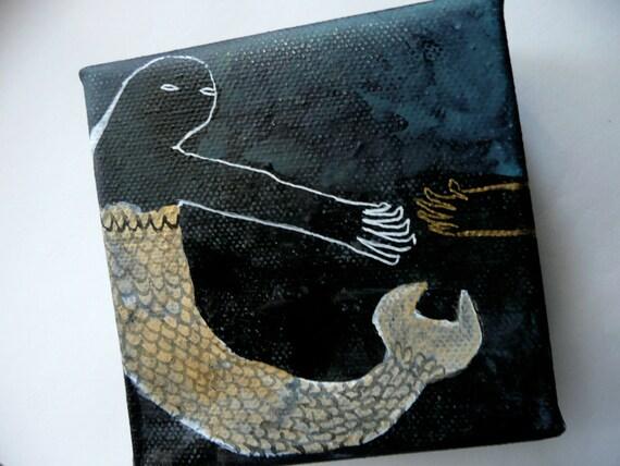 SALE Sea Monster Reaching Original Painting on Canvas