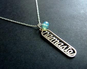 SALE Sterling Silver NAMASTE Pendant Necklace with a Peaceful Blue Swarovski Crystal
