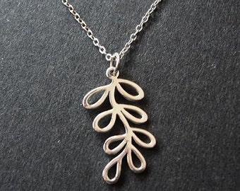 On Sale - Sterling Silver Leaf FERN BRANCH Necklace