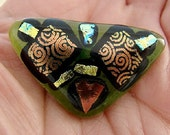 Dichroic Glass Pin-Green and Gold