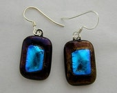 Dichroic and Silver Earrings