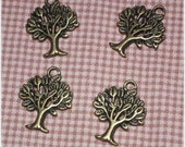 10 pcs Antique Bronze Tree Metal Charm Pendant - 1 side -