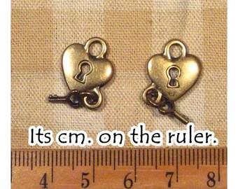 10 pcs Antique Bronze Heart Key Metal Charm Pendant - 2 sides -
